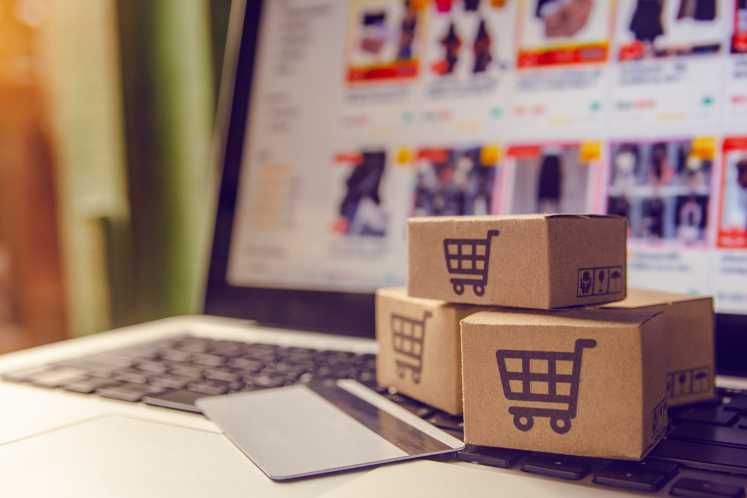 computadora, tarjeta de crédito para compras por internet